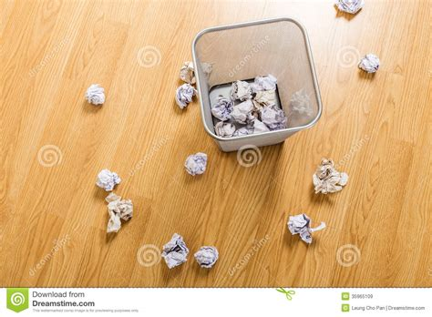 wood ball floor l trash basket and paper ball royalty free stock images