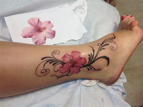 flower ankle tattoo hibiscus on right ankle
