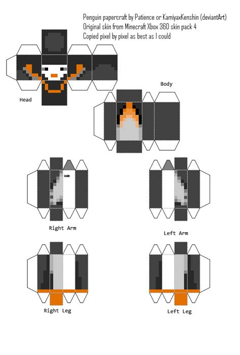Minecraft Papercraft Skin Maker - minecraft penguin custom papercraft by kamiyaxkenshin