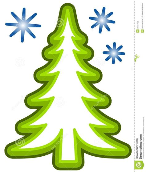 Simple clip art illustration featuring tree and snowflakes isolated