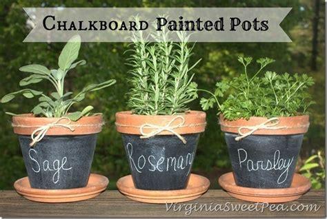 chalkboard paint ideas garden chalkboard painted pots sweet pea