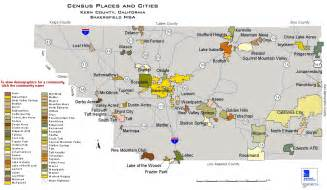 census places and cities in kern county california map