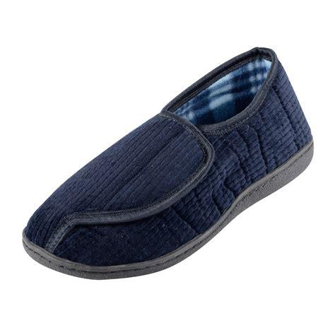mens velcro slippers mens velcro fastening redmond slippers with non slip soles