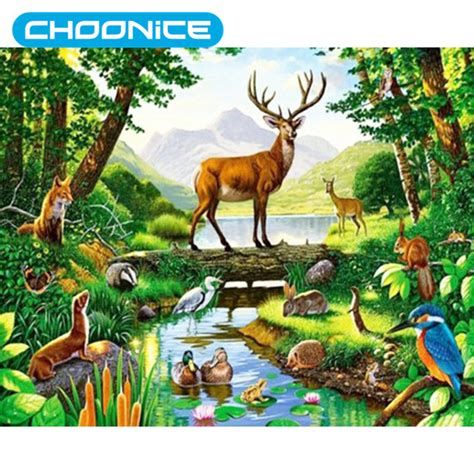 imagenes de animales de la selva garden rainforest landscapes animal deer diamond painting woods