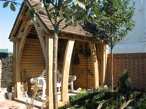garden shelter  green oak oak timber framing