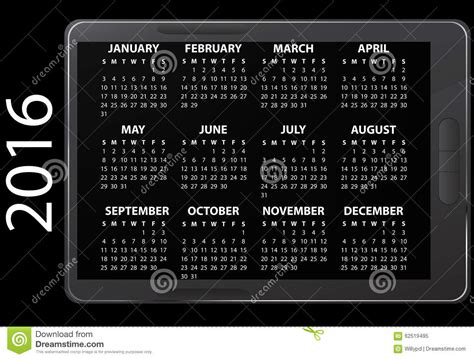 Electronic Calendar 2016 Electronic Calendar Stock Photo Image 62519495