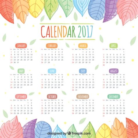 Calendã De Feriados 2017 2017 Calendar Of Beautiful Colored Leaves