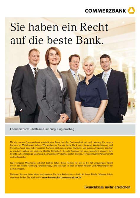 beste bank deutschlands kundencharta commerzbank wirbt mit neuem motiv