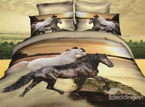 horse bedding sets 3d white and black horses print 4 piece bedding sets