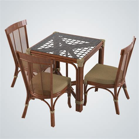 2014 New Vinyl Woven Dining by 3d Model Rattan Table Dining Chair