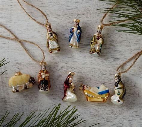 pottery barn nativity set mini nativity ornaments set of 8 pottery barn