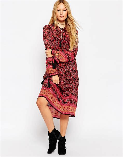 Midi Dress Bohemian Ferani lyst asos midi boho dress with border print in