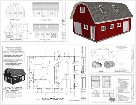 gambrel barn plans g551 24 x 32 x 9 gambrel barn sds plans