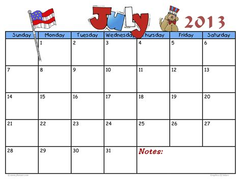 kid calendar template printable july 2013 calendar template