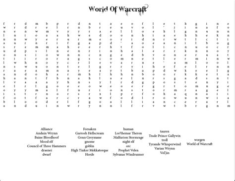 Wow Search Warcraft Word Search By Zafara1222 On Deviantart