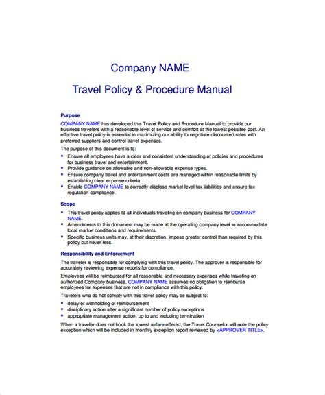 company travel policy template sle travel policy template 9 free documents