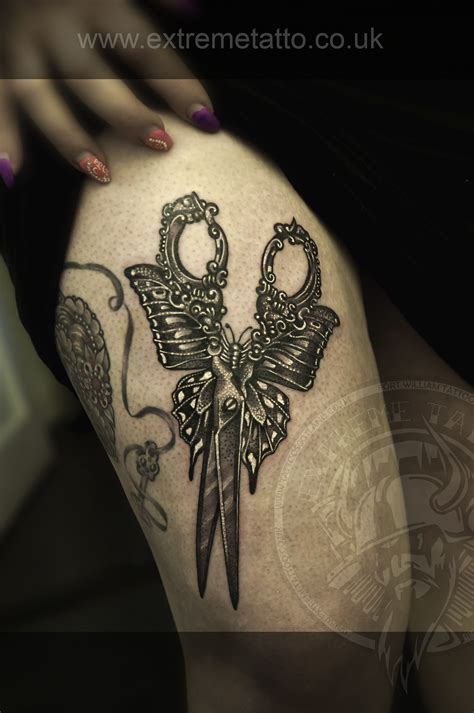 highlander tattoo scissors butterfly filigree gabi tomescu