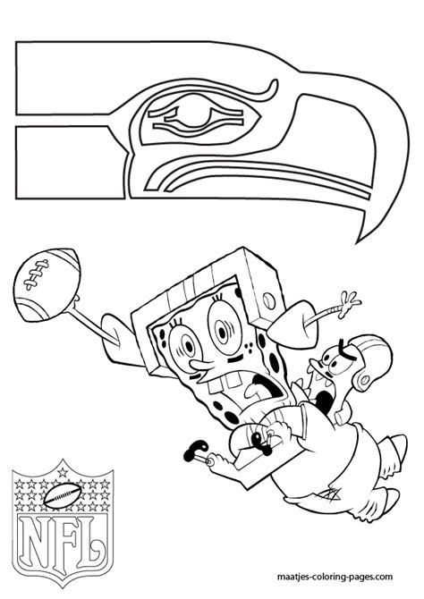spongebob nfl coloring pages nfl seattle seahawks coloring pages seattle seahawks