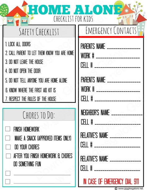 checklist for home alone after school is your child ready giggles galore