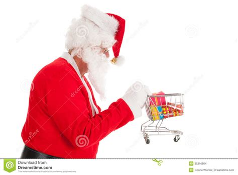 santa claus with little shopping cart stock images image