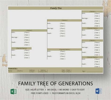 simple family tree template   word excel