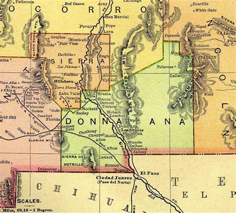Dona County Records New Mexico County Map