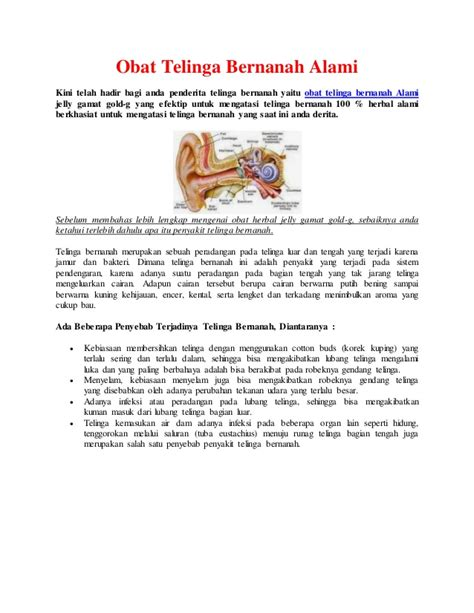 Obat Tetes Telinga Bernanah obat telinga bernanah alami