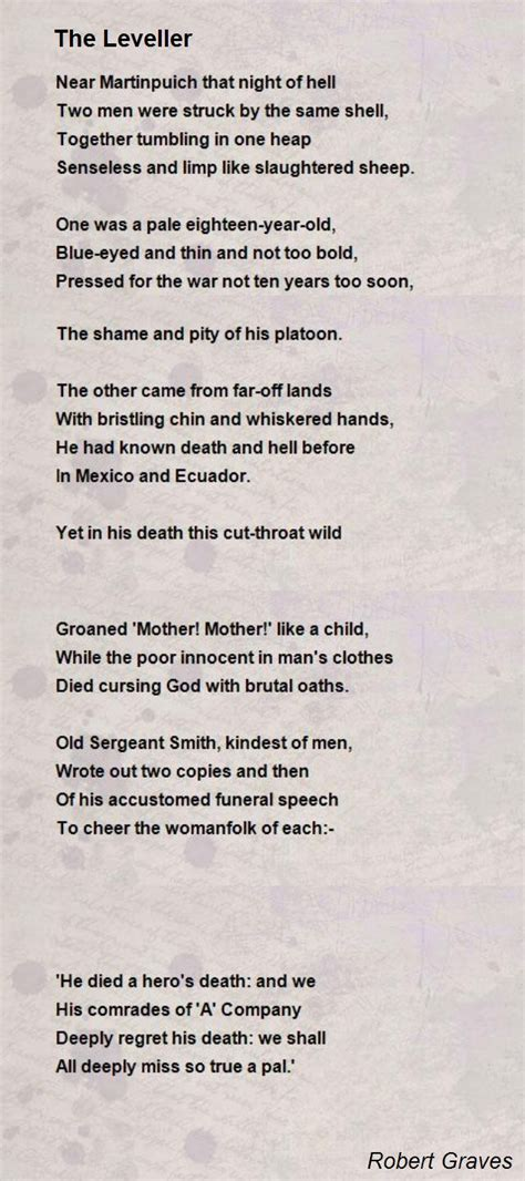 the leveller poem by robert graves poem hunter