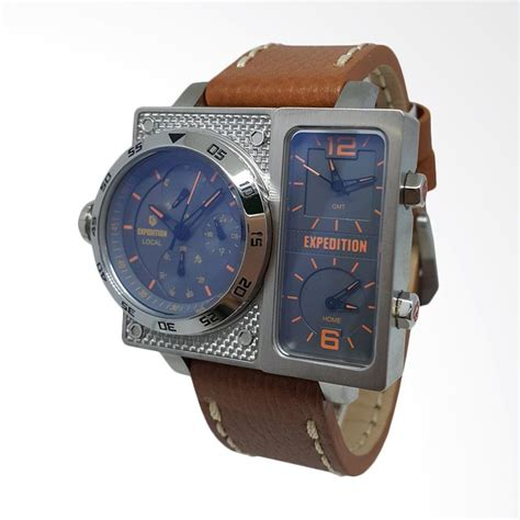 Jam Tangan Pria Zeca 213m Silver Tali Kulit Leather Original jual expedition analog tali kulit jam tangan pria silver