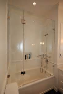 Heard right a beautiful frameless shower enclosure for your bath tub