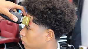 taper fade curly hair haircut tutorial taper with long curly hair youtube