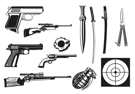 Weapon Graphics 5 weapons vector pack free vector stock