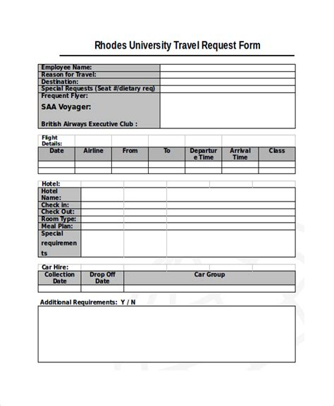 10 Travel Request Forms Sle Templates Travel Booking Request Form Template