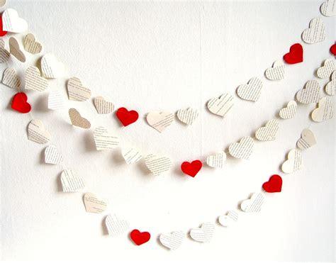 garland hearts paper garland decor book paper hearts garland bridal