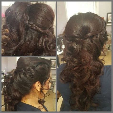1920s side braid open cascading hairstyle for curly hair with side braid