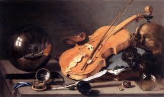 vanitas with violin and glass by claesz pieter