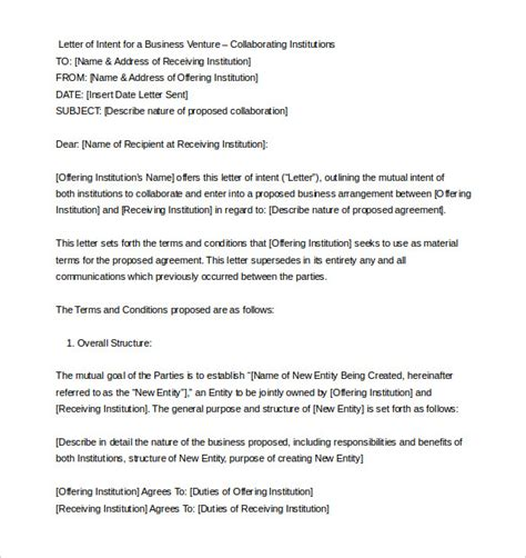 business letter of intent exles 11 letter of intent templates free sle exle