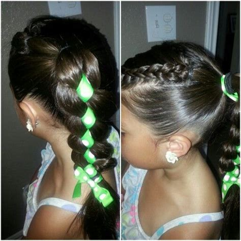 little girl hairstyles in ponytails little girl hairstyle ribbon through braid ponytail