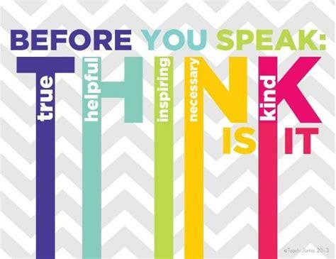 printable think poster think before you speak printable posters teach junkie