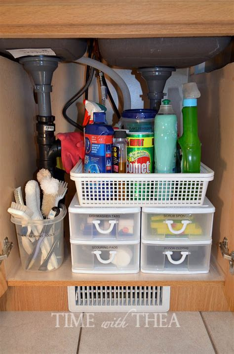under kitchen sink organizing ideas kitchen sink cabinet storage ideas time with thea