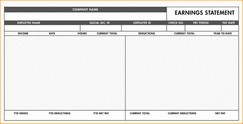 check stub template for excel free template excel free check