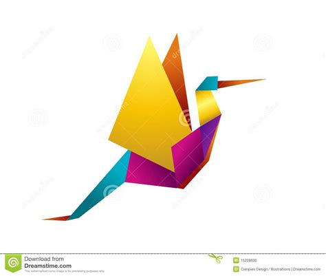 Stork Origami - stock photo vibrant colors origami stork image 15228600