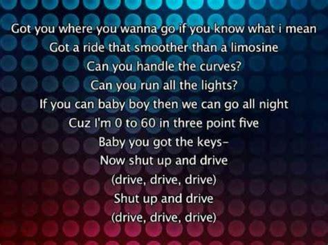 drive by lyrics rihanna shut up and drive lyrics in video youtube