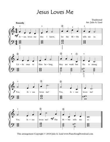 printable lyrics jesus loves me jesus loves me free level 2 piano hymn sheet music with