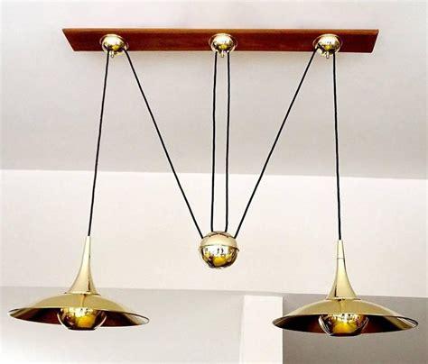 Large Pair Brass Counterweight Pendant Light Modernist Counterweight Chandelier