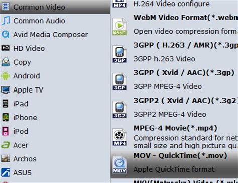 format audio quicktime transfer change movies on a dvd into mov format for