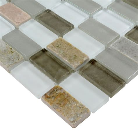glass mosaic tile sheets joint with marble