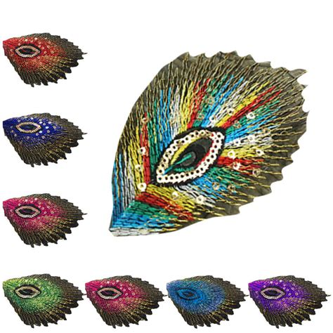 Upholstery Patches by Fabric Peacock Feather Applique Clothing Embroidery Patch