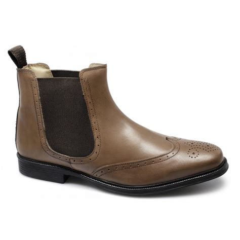 roamers mens leather brogue slip on chelsea boots
