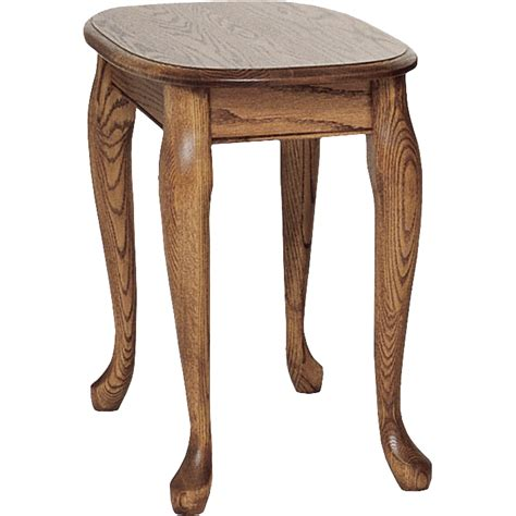 "Queen Anne Solid Oak Chair Side Table   15"" x 27""   The"